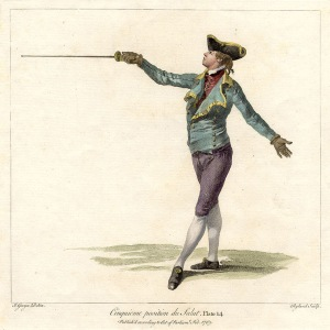 Angelo, demonstrating the 5th position of the salute, Plate 14, 1763.
