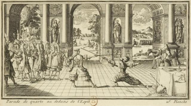 Parade de quarte au dedans de l'Espee. Les Vrays principes de l'espée seule… par le Sr de La Touche. 1670.