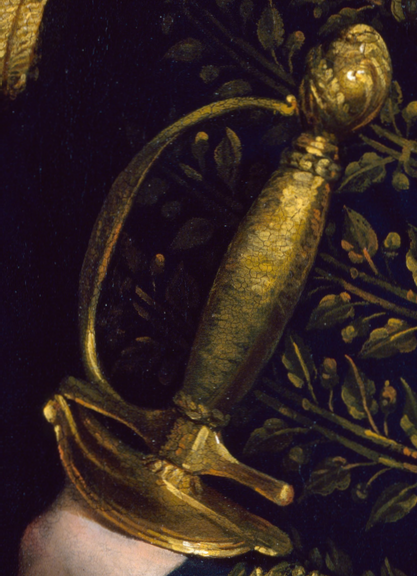 Detail of smallsword in Rembrandt Peale's portrait of William H. Harrison, ca.1814.